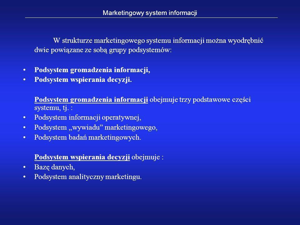 W strukturze marketingowego systemu informacji można wyodrębnić dwie powiązane ze sobą grupy podsystemów: Podsystem gromadzenia informacji, Podsystem