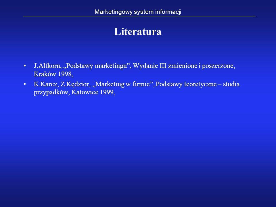 Literatura J.Altkorn, Podstawy marketingu, Wydanie III zmienione i poszerzone, Kraków 1998, K.Karcz, Z.Kędzior, Marketing w firmie, Podstawy teoretycz