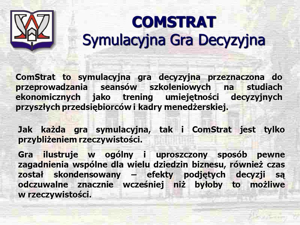 COMSTRAT Symulacyjna Gra Decyzyjna ComStrat to symulacyjna gra decyzyjna przeznaczona do przeprowadzania seansów szkoleniowych na studiach ekonomiczny