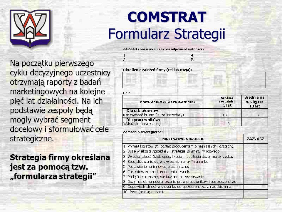 COMSTRAT Formularz Strategii Na początku pierwszego cyklu decyzyjnego uczestnicy otrzymają raporty z badań marketingowych na kolejne pięć lat działaln