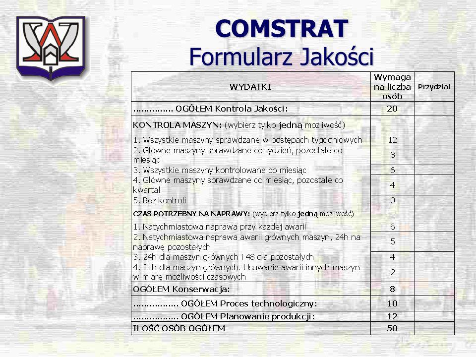 COMSTRAT Formularz Jakości