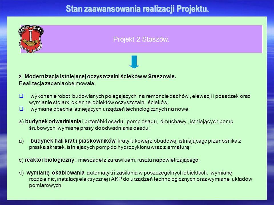 Stan zaawansowania realizacji Projektu. Projekt 2 Staszów. 2. Modernizacja istniejącej oczyszczalni ścieków w Staszowie. Realizacja zadania obejmowała