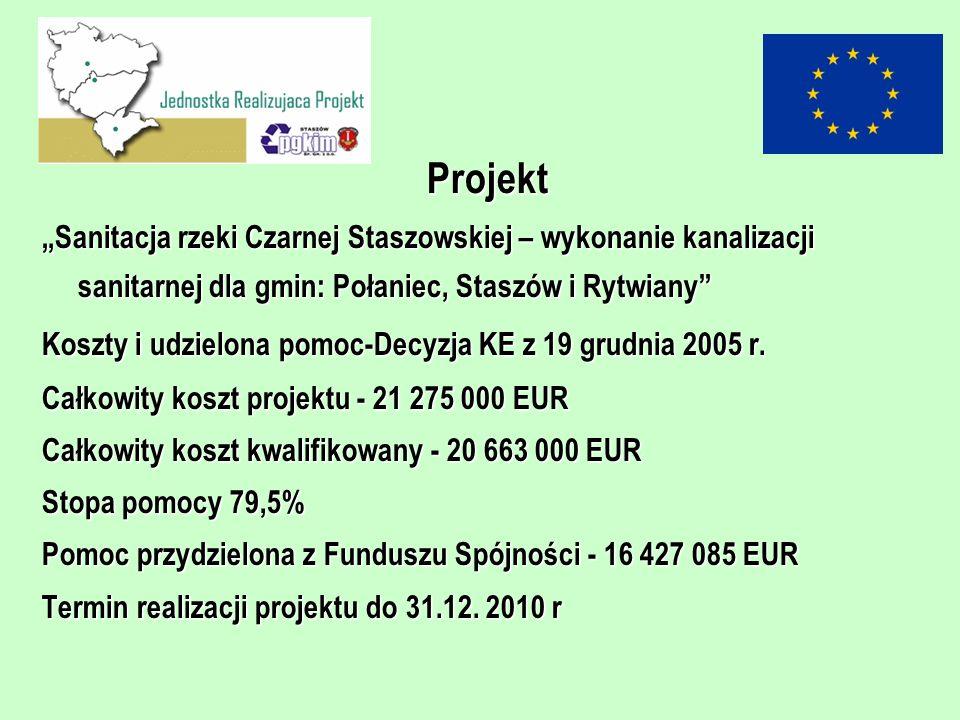 Projekt Sanitacja rzeki Czarnej Staszowskiej – wykonanie kanalizacji sanitarnej dla gmin: Połaniec, Staszów i RytwianySanitacja rzeki Czarnej Staszows