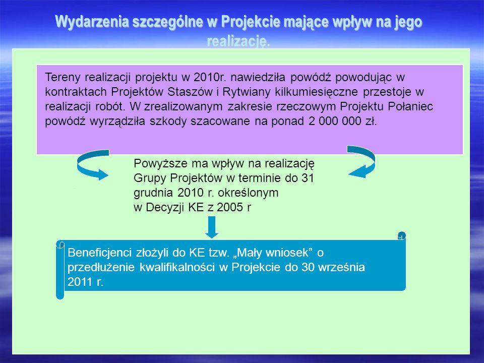 Wydarzenia szczególne w Projekcie mające wpływ na jego realizację. Tereny realizacji projektu w 2010r. nawiedziła powódź powodując w kontraktach Proje