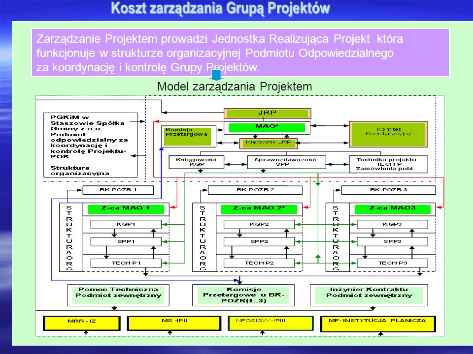 Koszt zarządzania Grupą Projektów Zarządzanie Projektem prowadzi Jednostka Realizująca Projekt która funkcjonuje w strukturze organizacyjnej Podmiotu