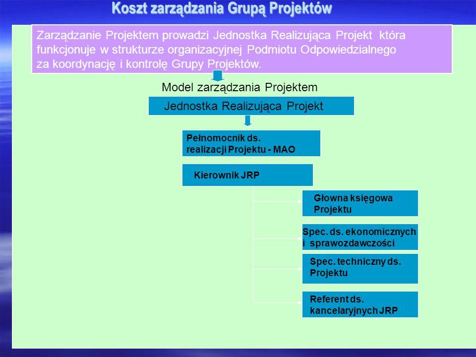 Koszt zarządzania Grupą Projektów Zarządzanie Projektem prowadzi Jednostka Realizująca Projekt która funkcjonuje w strukturze organizacyjnej Podmiotu Odpowiedzialnego za koordynację i kontrolę Grupy Projektów.
