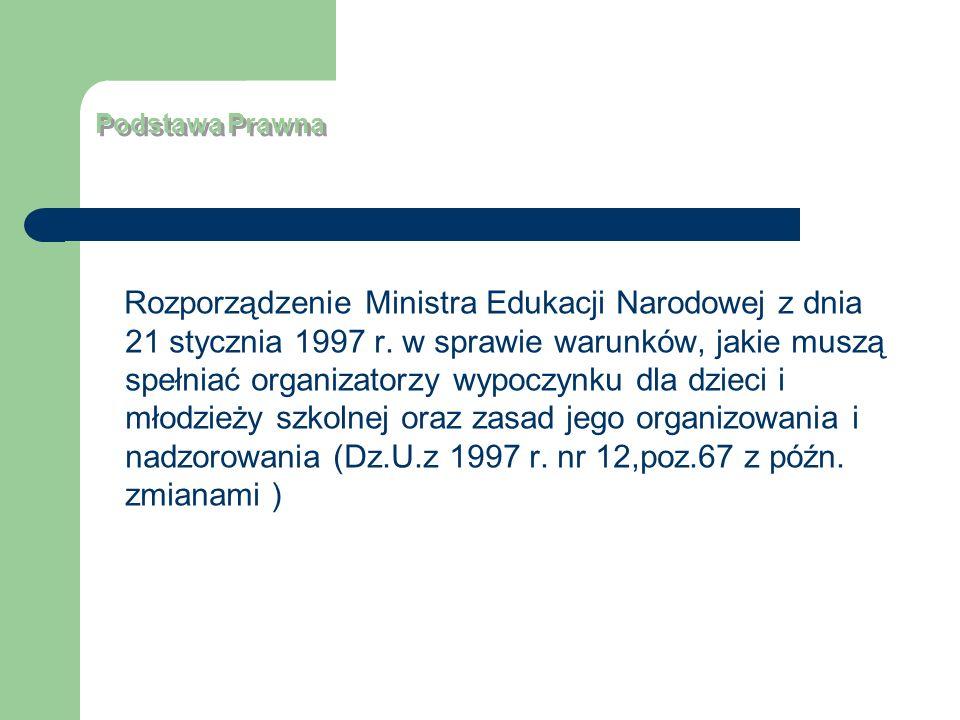 Podstawa Prawna Rozporządzenie Ministra Edukacji Narodowej z dnia 21 stycznia 1997 r. w sprawie warunków, jakie muszą spełniać organizatorzy wypoczynk