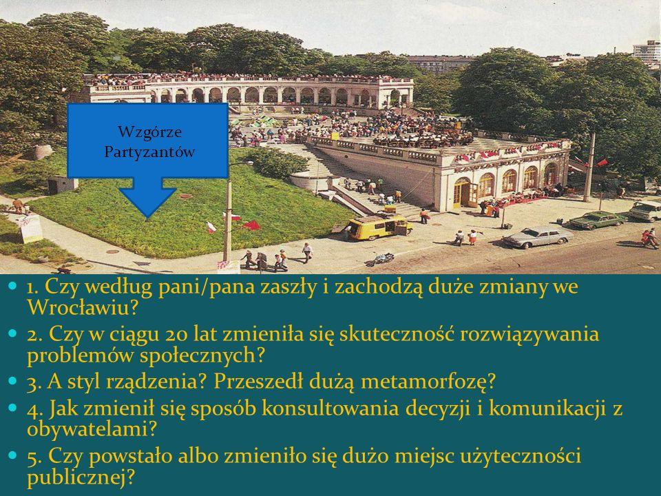 1. Czy według pani/pana zaszły i zachodzą duże zmiany we Wrocławiu? 2. Czy w ciągu 20 lat zmieniła się skuteczność rozwiązywania problemów społecznych