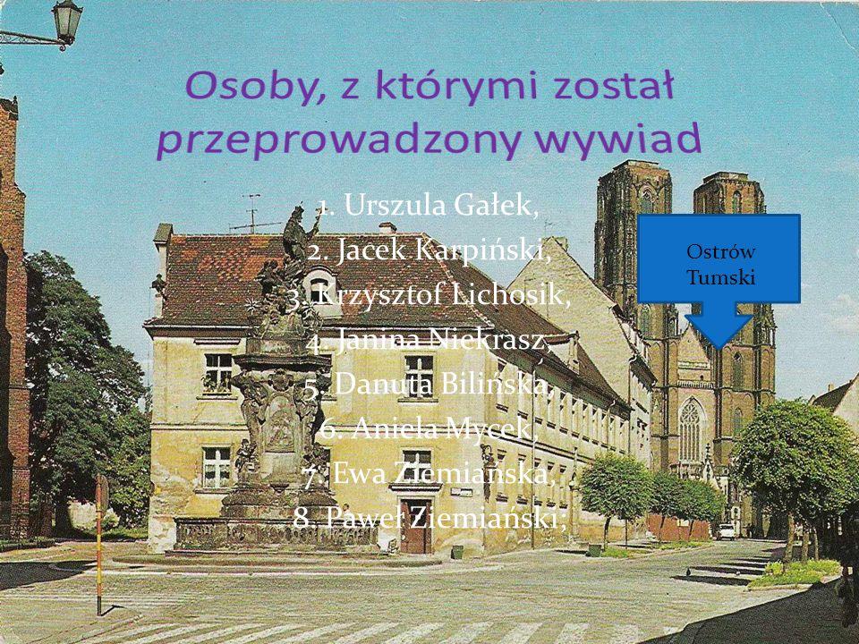 1. Urszula Gałek, 2. Jacek Karpiński, 3. Krzysztof Lichosik, 4. Janina Niekrasz, 5. Danuta Bilińska, 6. Aniela Mycek, 7. Ewa Ziemiańska, 8. Paweł Ziem