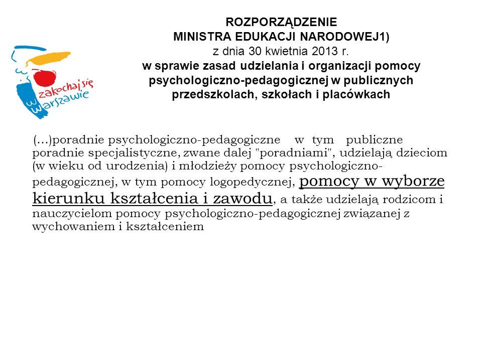 ROZPORZĄDZENIE MINISTRA EDUKACJI NARODOWEJ1) z dnia 30 kwietnia 2013 r. w sprawie zasad udzielania i organizacji pomocy psychologiczno-pedagogicznej w