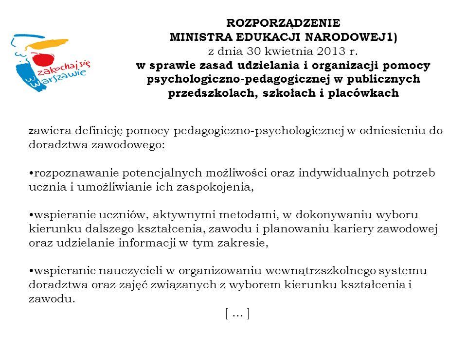 z awiera definicję pomocy pedagogiczno-psychologicznej w odniesieniu do doradztwa zawodowego: rozpoznawanie potencjalnych możliwości oraz indywidualny