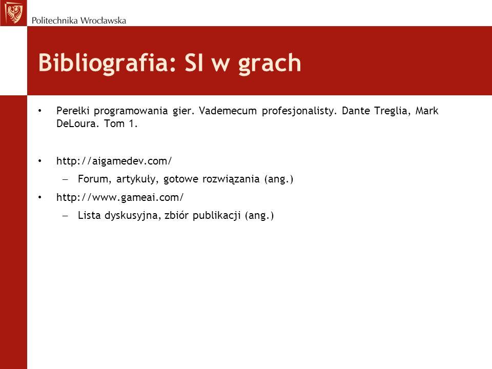 Bibliografia: SI w grach Perełki programowania gier. Vademecum profesjonalisty. Dante Treglia, Mark DeLoura. Tom 1. http://aigamedev.com/ – Forum, art