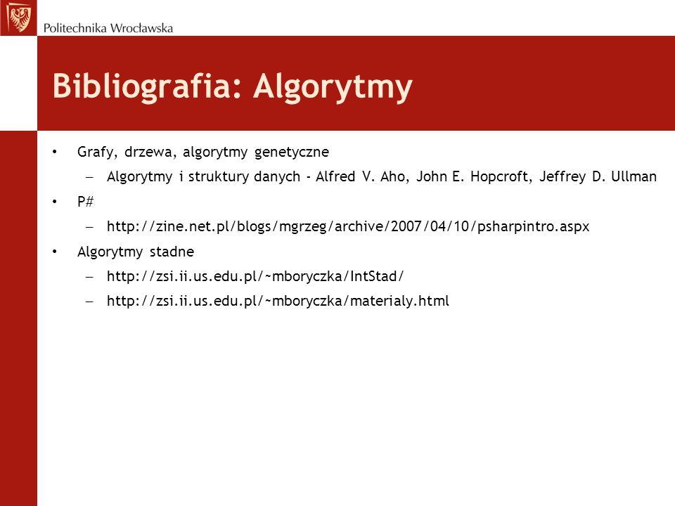 Bibliografia: Algorytmy Grafy, drzewa, algorytmy genetyczne – Algorytmy i struktury danych - Alfred V. Aho, John E. Hopcroft, Jeffrey D. Ullman P# – h