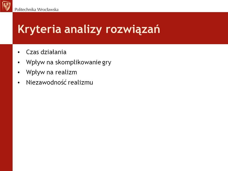 Kryteria analizy rozwiązań Czas działania Wpływ na skomplikowanie gry Wpływ na realizm Niezawodność realizmu