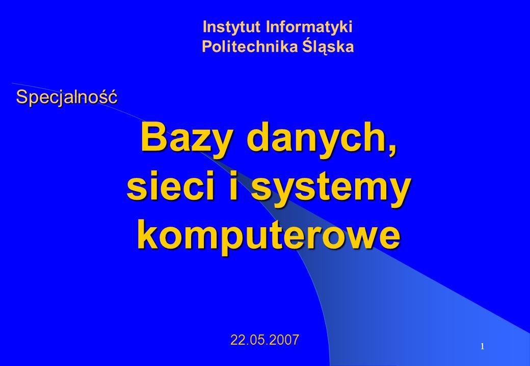 12 Przedmioty obieralne (3) Hurtownie danych, eksploracja danych Hurtownie danych i systemy eksploracji danych Zaawansowane hurtownie danych i systemy eksploracji danych Gridy i systemy agentowe Bazy wiedzy i sztuczna inteligencja Inteligentne systemy przetwarzania danych
