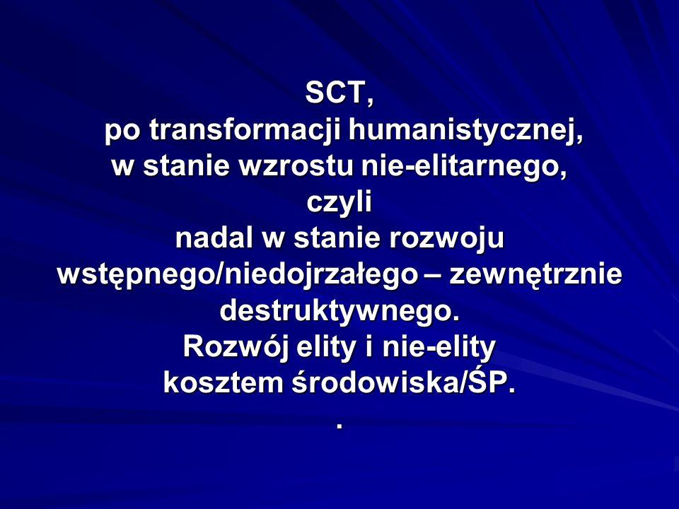 SCT, po transformacji humanistycznej, w stanie wzrostu nie-elitarnego, czyli nadal w stanie rozwoju wstępnego/niedojrzałego – zewnętrznie destruktywne