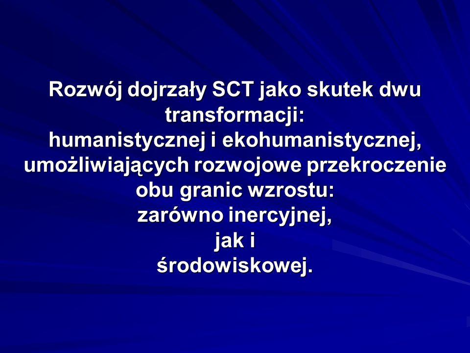 Rozwój dojrzały SCT jako skutek dwu transformacji: humanistycznej i ekohumanistycznej, umożliwiających rozwojowe przekroczenie obu granic wzrostu: zar