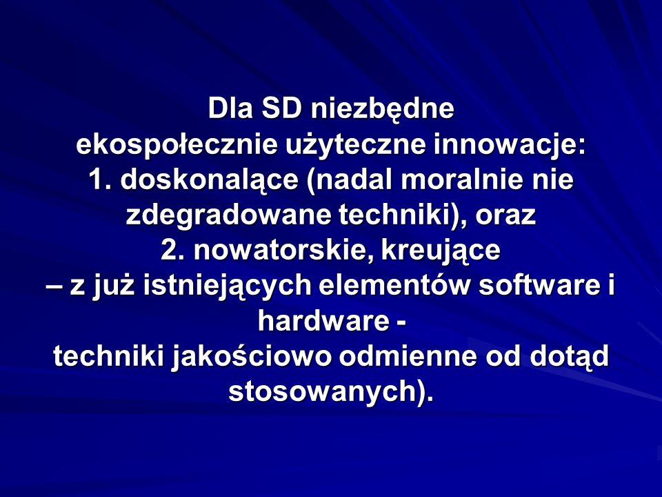 Dla SD niezbędne ekospołecznie użyteczne innowacje: 1.