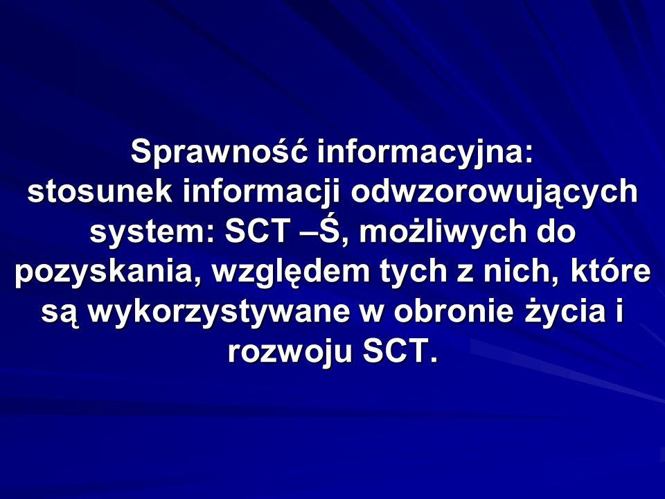 Sprawność informacyjna: stosunek informacji odwzorowujących system: SCT –Ś, możliwych do pozyskania, względem tych z nich, które są wykorzystywane w obronie życia i rozwoju SCT.