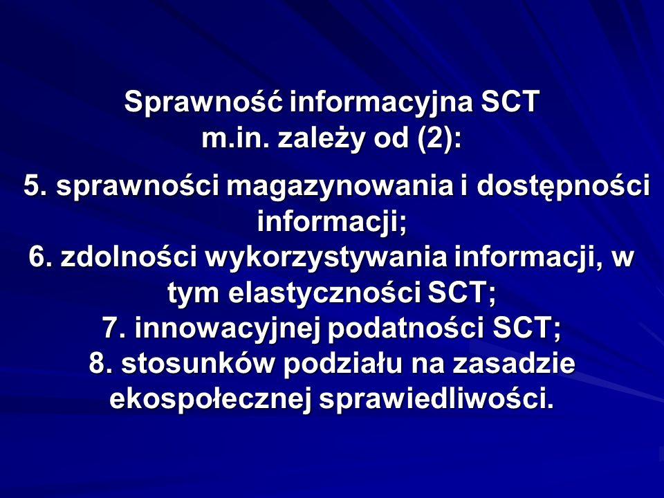 Sprawność informacyjna SCT m.in. zależy od (2): 5. sprawności magazynowania i dostępności informacji; 6. zdolności wykorzystywania informacji, w tym e