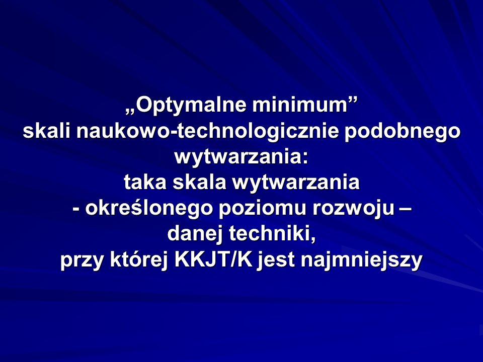 Optymalne minimum skali naukowo-technologicznie podobnego wytwarzania: taka skala wytwarzania - określonego poziomu rozwoju – danej techniki, przy której KKJT/K jest najmniejszy