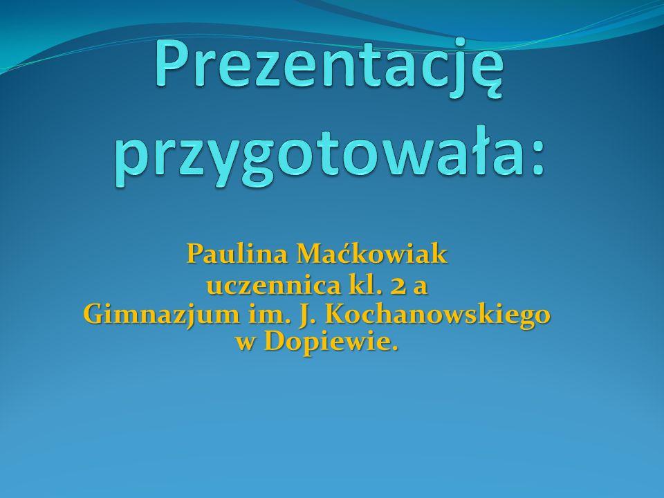 Paulina Maćkowiak uczennica kl. 2 a Gimnazjum im. J. Kochanowskiego w Dopiewie.
