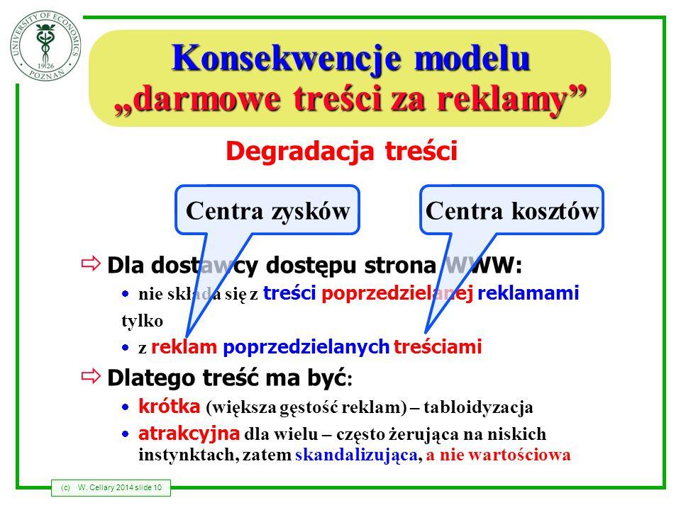 (c)W. Cellary 2014 slide 10 Konsekwencje modelu darmowe treści za reklamy Dla dostawcy dostępu strona WWW: nie składa się z treści poprzedzielanej rek