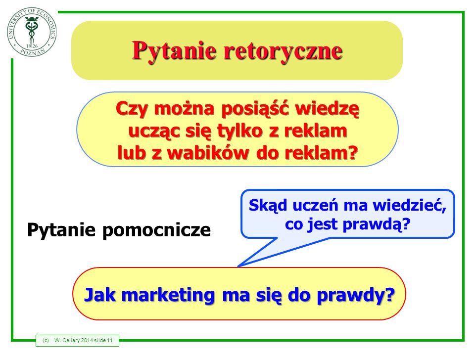 (c)W. Cellary 2014 slide 11 Pytanie retoryczne Czy można posiąść wiedzę ucząc się tylko z reklam lub z wabików do reklam? Pytanie pomocnicze Jak marke
