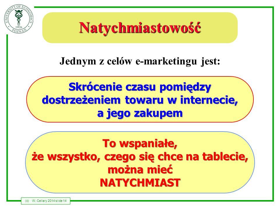 (c)W. Cellary 2014 slide 14 Natychmiastowość Jednym z celów e-marketingu jest: To wspaniałe, że wszystko, czego się chce na tablecie, można mieć NATYC