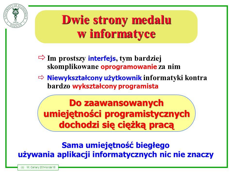 (c)W. Cellary 2014 slide 18 Dwie strony medalu w informatyce Im prostszy interfejs, tym bardziej skomplikowane oprogramowanie za nim Niewykształcony u