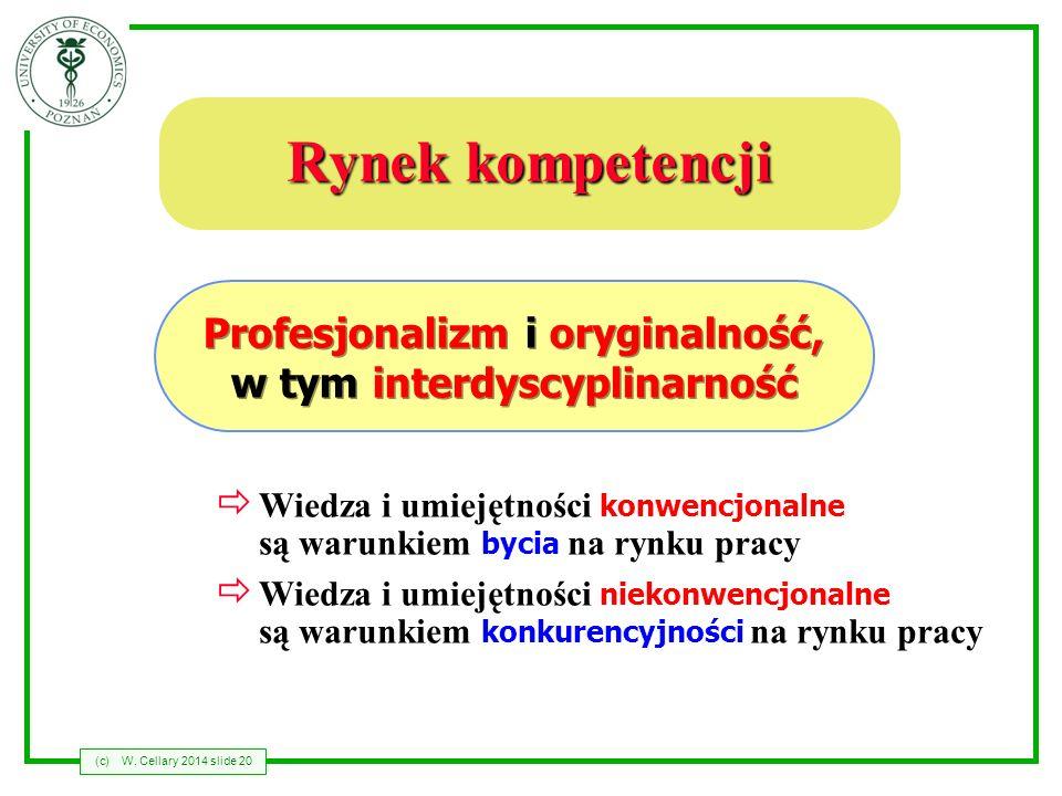 (c)W. Cellary 2014 slide 20 Rynek kompetencji Wiedza i umiejętności konwencjonalne są warunkiem bycia na rynku pracy Wiedza i umiejętności niekonwencj