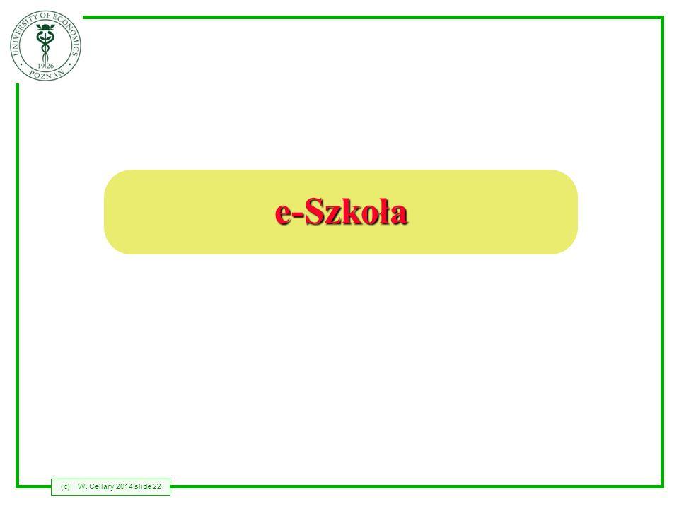 (c)W. Cellary 2014 slide 22 e-Szkoła
