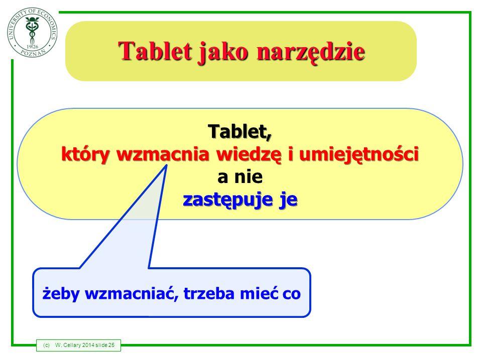 (c)W. Cellary 2014 slide 25 Tablet jako narzędzie Tablet, który wzmacnia wiedzę i umiejętności a nie zastępuje je żeby wzmacniać, trzeba mieć co