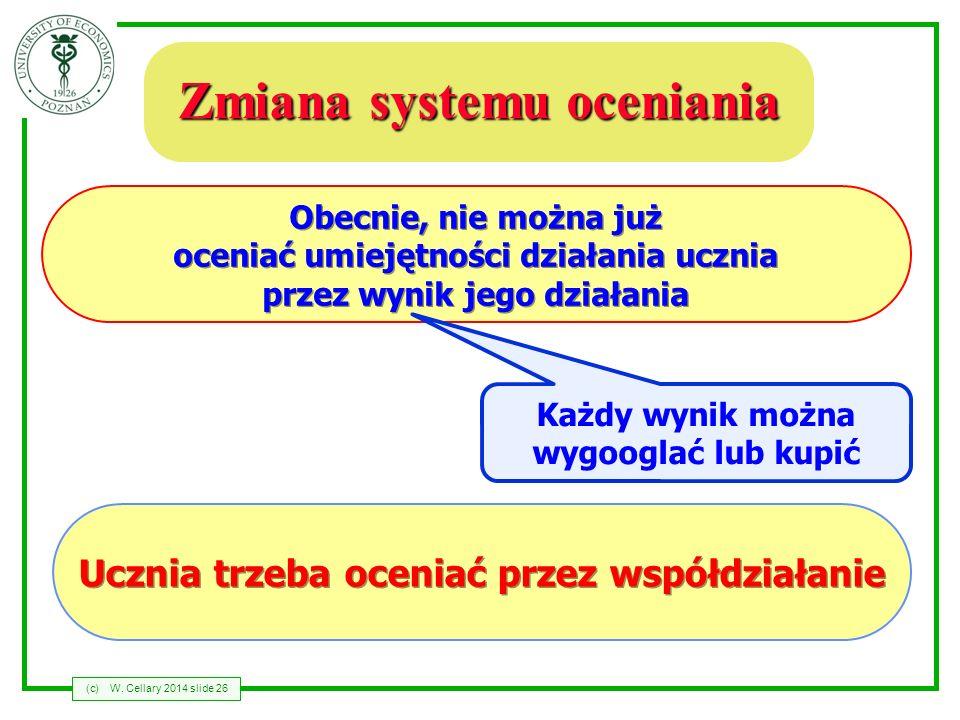 (c)W. Cellary 2014 slide 26 Zmiana systemu oceniania Obecnie, nie można już oceniać umiejętności działania ucznia przez wynik jego działania Ucznia tr
