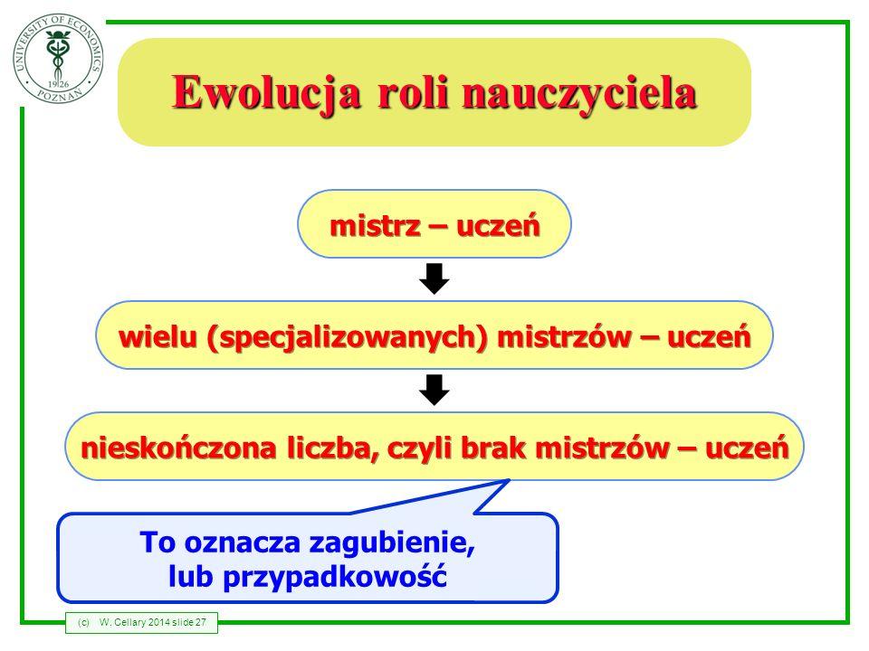 (c)W. Cellary 2014 slide 27 Ewolucja roli nauczyciela mistrz – uczeń wielu (specjalizowanych) mistrzów – uczeń nieskończona liczba, czyli brak mistrzó