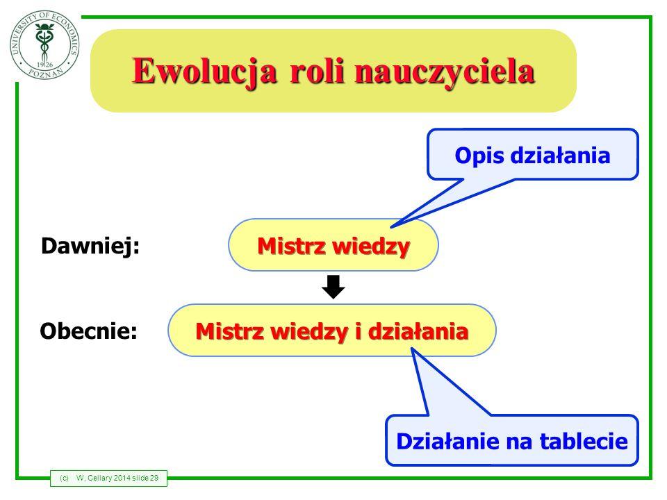 (c)W. Cellary 2014 slide 29 Ewolucja roli nauczyciela Mistrz wiedzy Mistrz wiedzy i działania Dawniej: Obecnie: Opis działania Działanie na tablecie