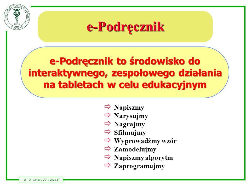 (c)W. Cellary 2014 slide 31 e-Podręcznik Napiszmy Narysujmy Nagrajmy Sfilmujmy Wyprowadźmy wzór Zamodelujmy Napiszmy algorytm Zaprogramujmy e-Podręczn