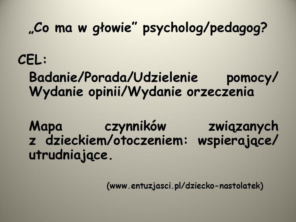 Co ma w głowie psycholog/pedagog? CEL: Badanie/Porada/Udzielenie pomocy/ Wydanie opinii/Wydanie orzeczenia Mapa czynników związanych z dzieckiem/otocz
