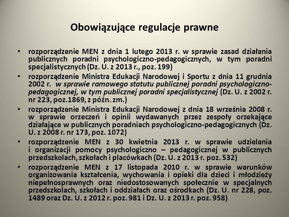 Obowiązujące regulacje prawne rozporządzenie MEN z dnia 1 lutego 2013 r. w sprawie zasad działania publicznych poradni psychologiczno-pedagogicznych,