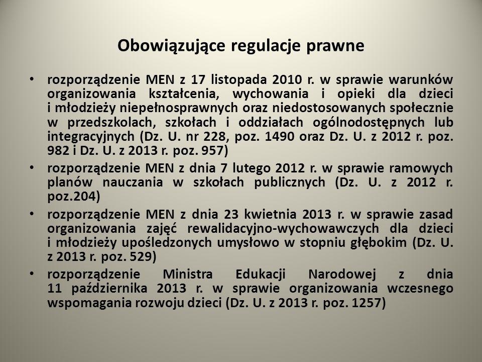 Obowiązujące regulacje prawne rozporządzenie MEN z 17 listopada 2010 r. w sprawie warunków organizowania kształcenia, wychowania i opieki dla dzieci i