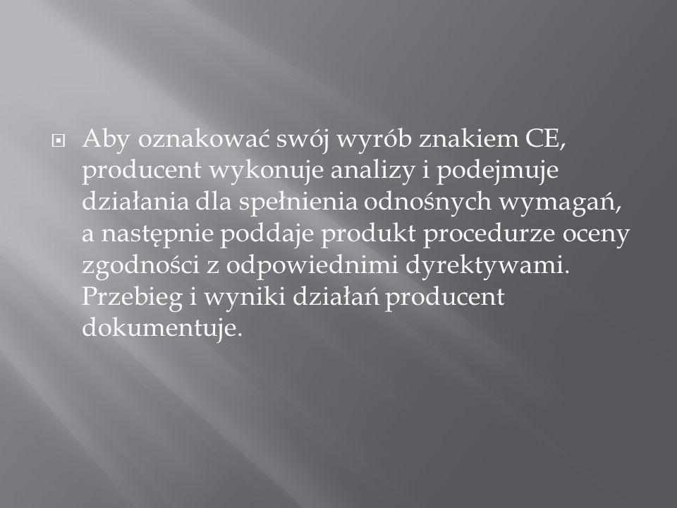 Procedura oceny zgodności realizowana jest przez producenta poprzez wykonanie sekwencji określonych przepisami działań.