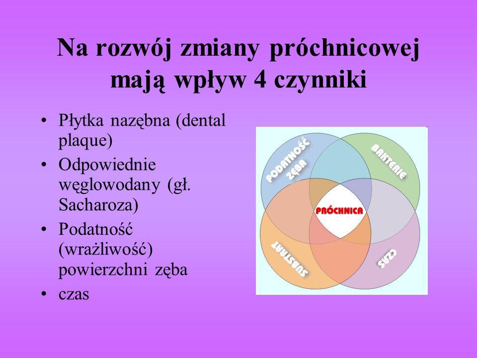 Na rozwój zmiany próchnicowej mają wpływ 4 czynniki Płytka nazębna (dental plaque) Odpowiednie węglowodany (gł. Sacharoza) Podatność (wrażliwość) powi