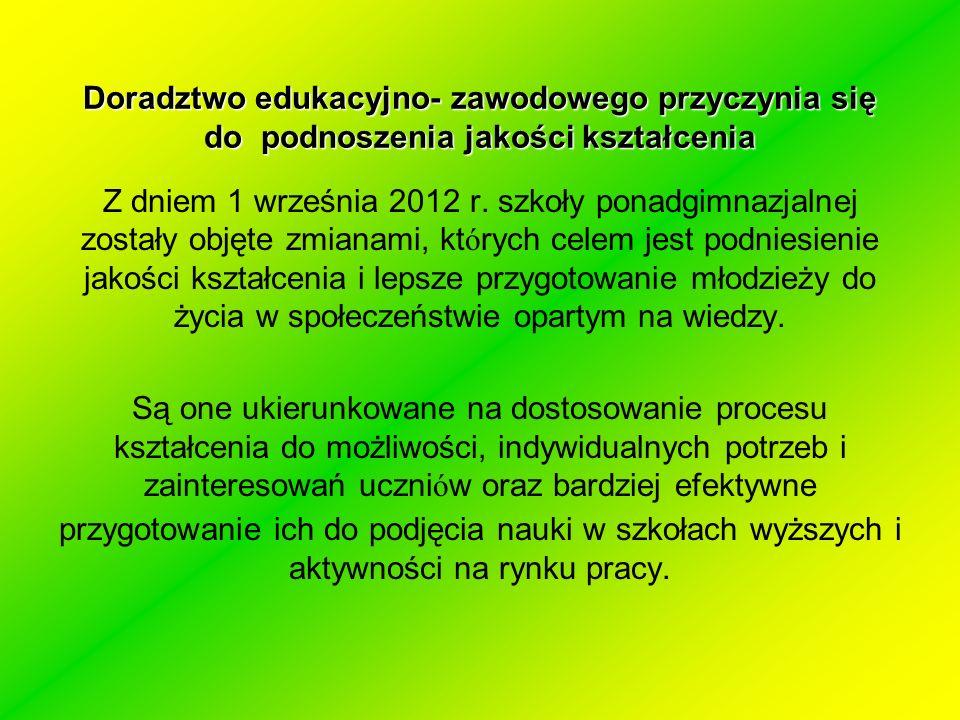 Doradztwo edukacyjno- zawodowego przyczynia się do podnoszenia jakości kształcenia Z dniem 1 września 2012 r.