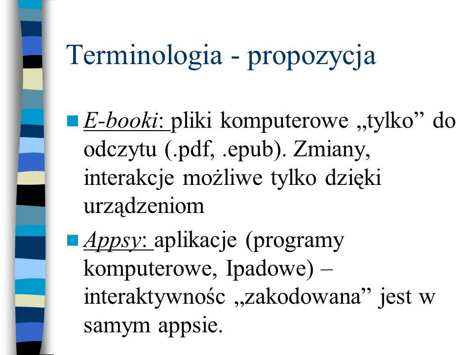 Terminologia - propozycja E-booki: pliki komputerowe tylko do odczytu (.pdf,.epub). Zmiany, interakcje możliwe tylko dzięki urządzeniom Appsy: aplikac