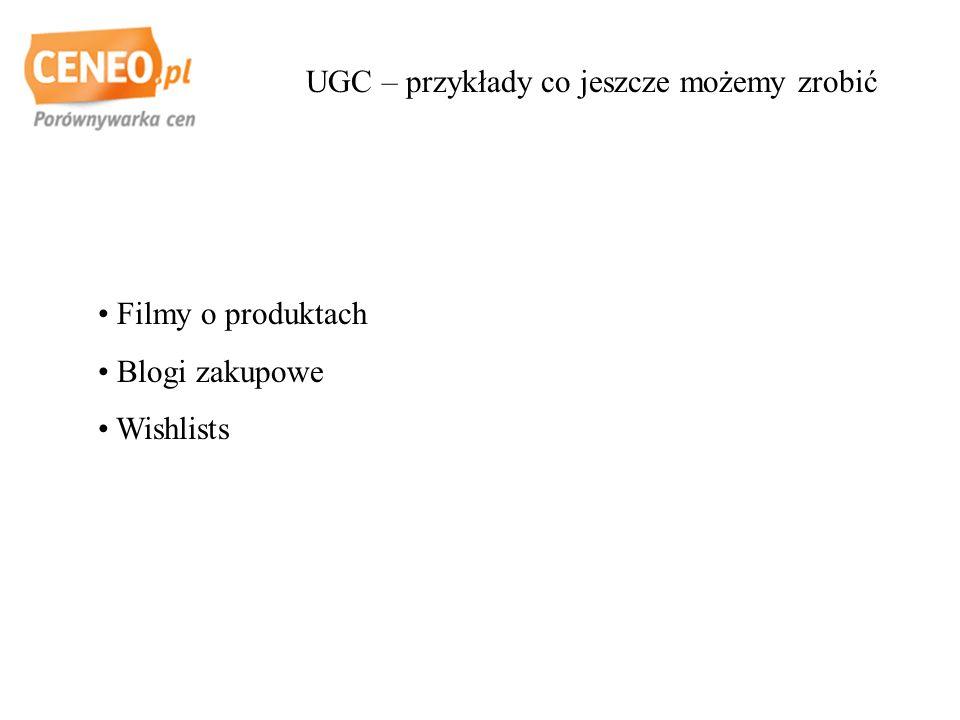 UGC – przykłady co jeszcze możemy zrobić Filmy o produktach Blogi zakupowe Wishlists