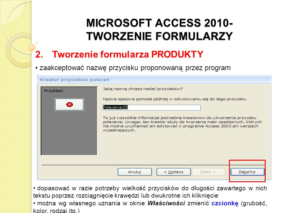 MICROSOFT ACCESS 2010- TWORZENIE FORMULARZY 2.