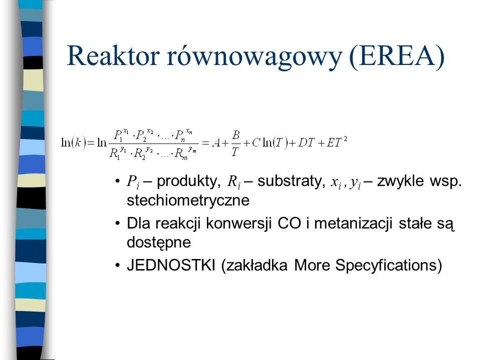 Reaktor równowagowy (EREA) P i – produkty, R i – substraty, x i, y i – zwykle wsp. stechiometryczne Dla reakcji konwersji CO i metanizacji stałe są do