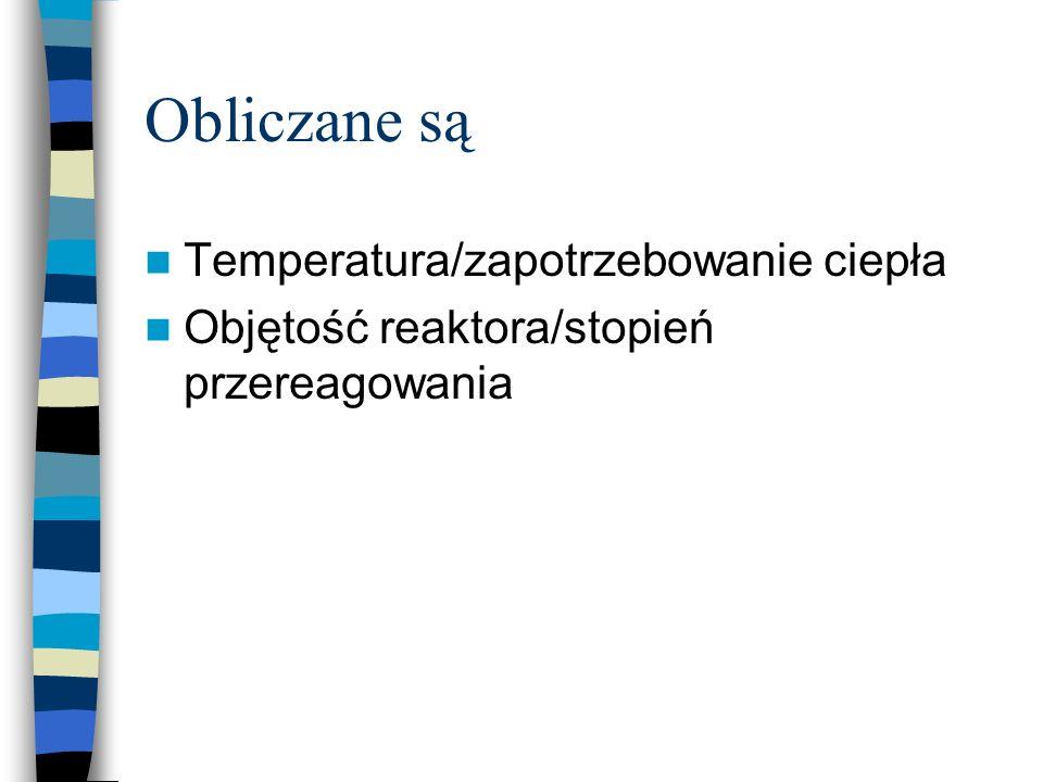 Obliczane są Temperatura/zapotrzebowanie ciepła Objętość reaktora/stopień przereagowania