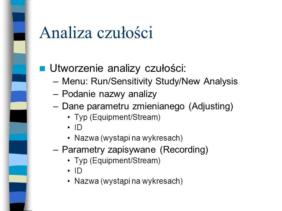 Analiza czułości Utworzenie analizy czułości: –Menu: Run/Sensitivity Study/New Analysis –Podanie nazwy analizy –Dane parametru zmienianego (Adjusting)