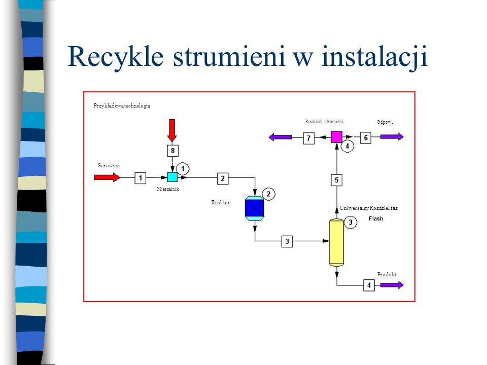 Recykle strumieni w instalacji Przykładowa technologia Mieszalnik Reaktor Rozdziel. strumieni Odpow. Produkt Surowiec Uniwersalny Rozdziel faz Flash